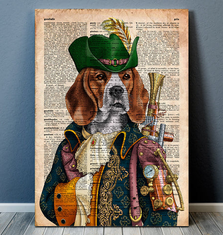 Steampunk beagle art print