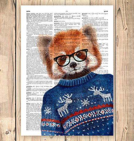 Geeky Red Panda in glasses art