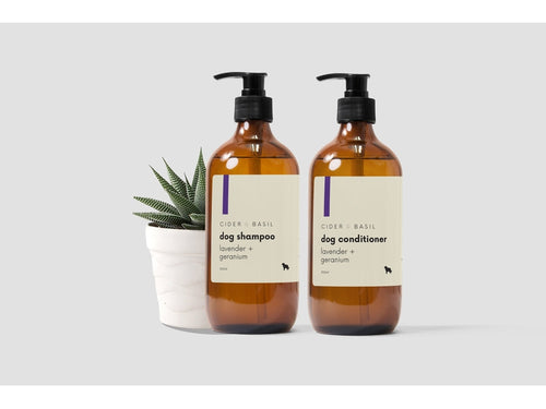 Dog Shampoo & Conditioner Set - Wild Lavender & Geranium Leaf-Pet grooming set-Cider and Basil