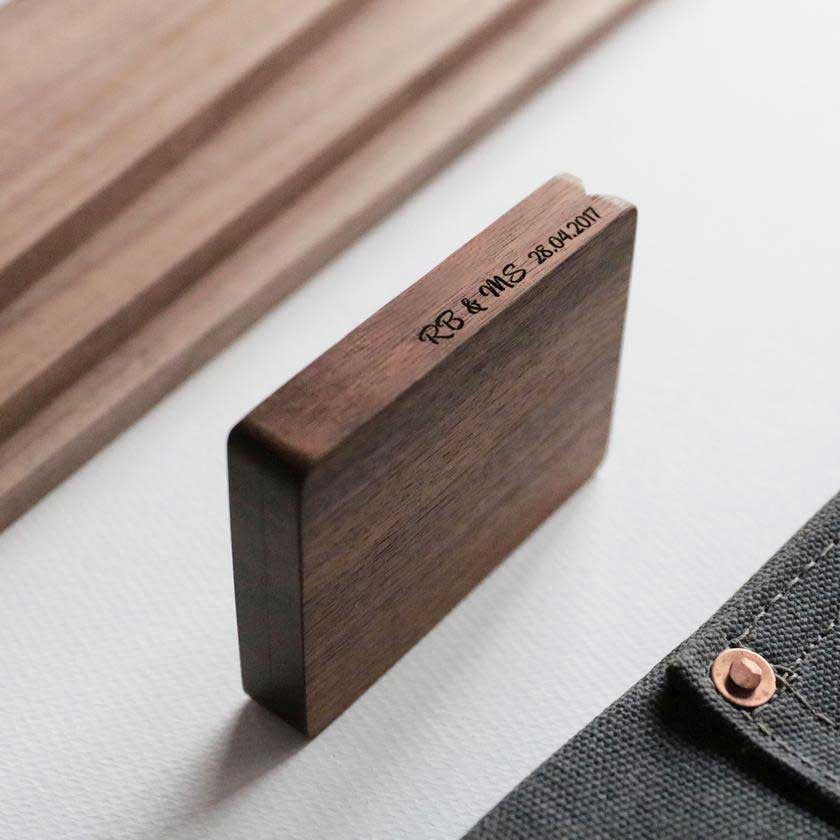 Walnut Engagement Box Side Engraving