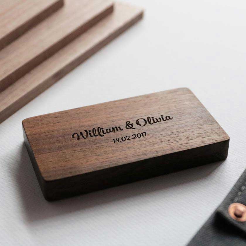 Walnut Wedding Box With Engraving