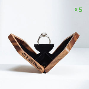 belladora-ring-boxes Wholesale Walnut Pentagon Ring Box Wholesale