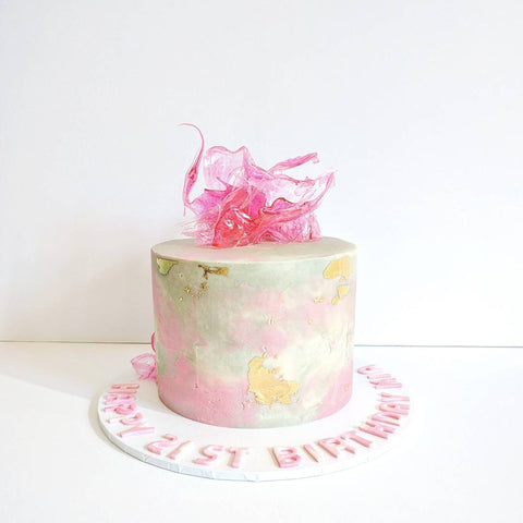 Pink & Grey Textured Cake With Isomalt Shards