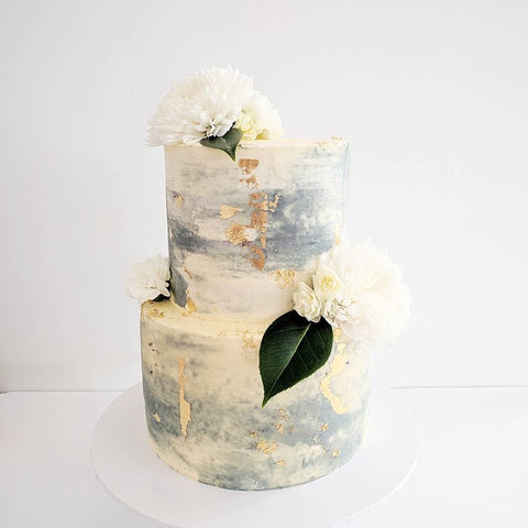Grey & White Textured Cake, Two Tiered