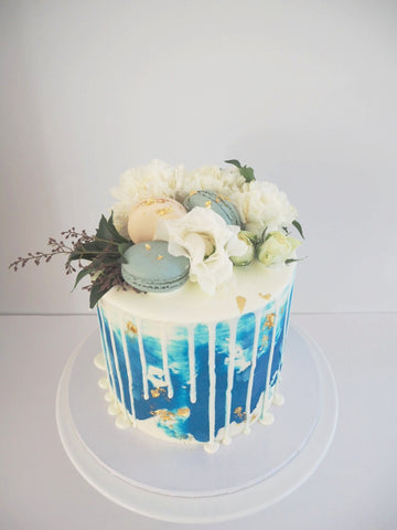 BLUE FLORAL WATERCOLOUR CAKE