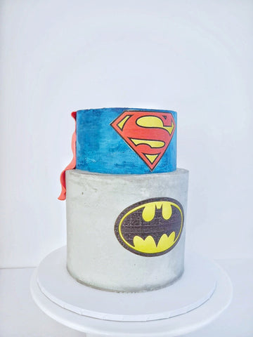 BATMAN VS SUPERMAN THEMED CAKE