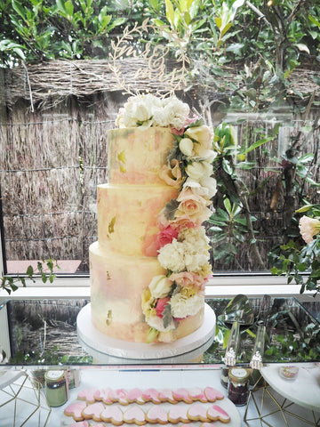 WATERCOLOUR FLORAL WEDDING CAKE