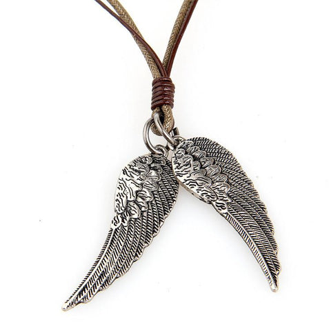 Vintage Punk Angel Wing Leather Necklace