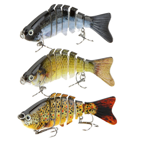 3 Units High Simulation Vivid 7 Segments Fish Lures