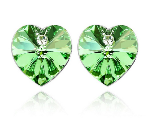 Classic Heart Stud Crystal Earrings Made With Swarovski Elements