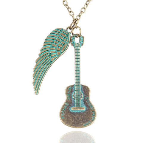 Acoustic Antique Guitar And Wing Necklace