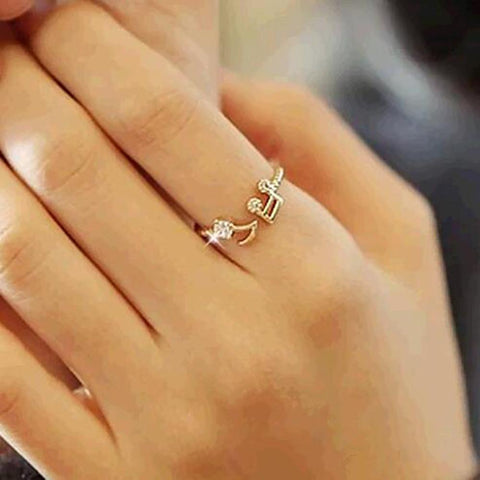Elegant Rhinestone Musical Note Ring