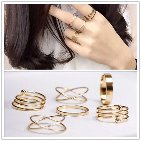 6Pcs 18K Gold Knuckle Rings Set