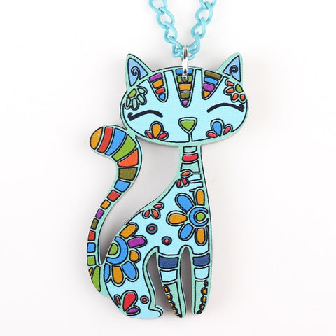 Colorful Acrylic Cat Pendant Necklace