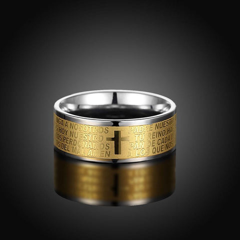 316L Stainless Steel Holy Bible Lord's Prayer Ring