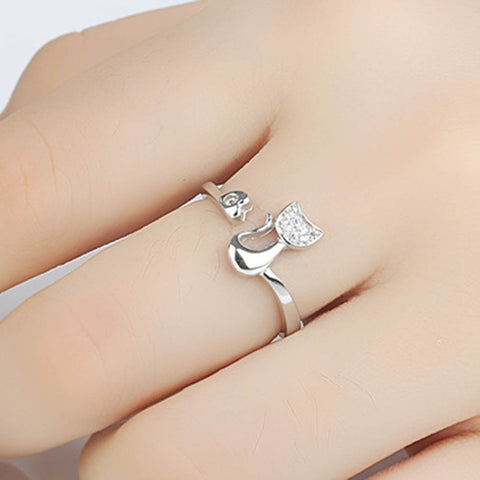 Luxury Clear Crystal Cat Ring
