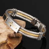 2017 <Premium> Stainless Steel Leather Rope Cross Bracelet 50%OFF