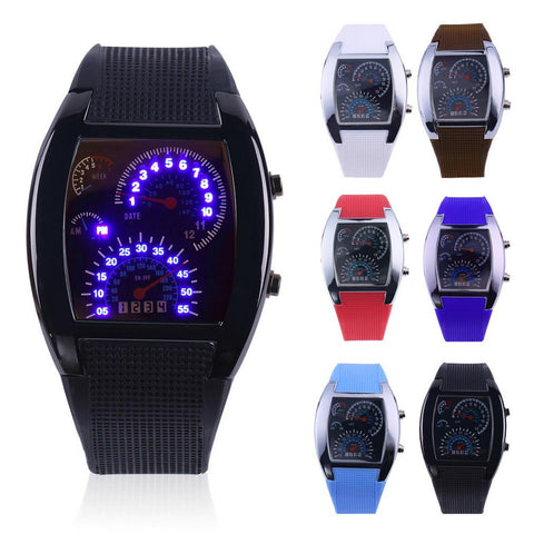 LED Sport Car Speedometer Watch