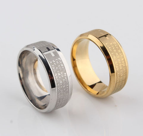 18K Gold Silver Plated Father Prayer Ring