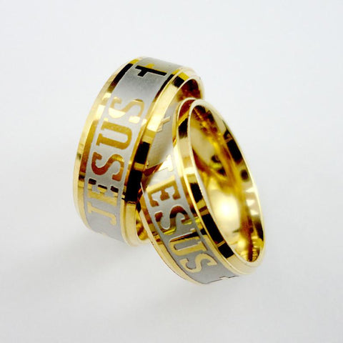Gold Stainless Steel JESUS Ring