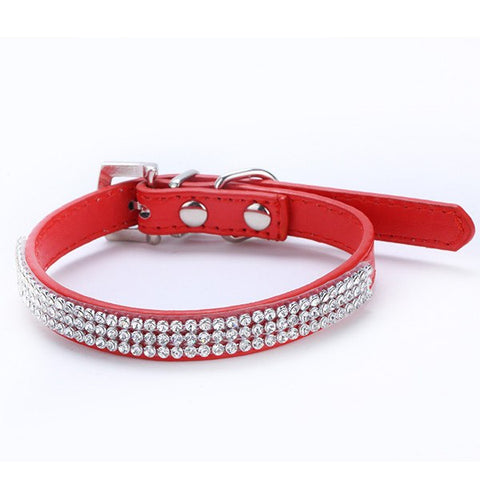 3 Rows Bling Rhinestone Pet Collar