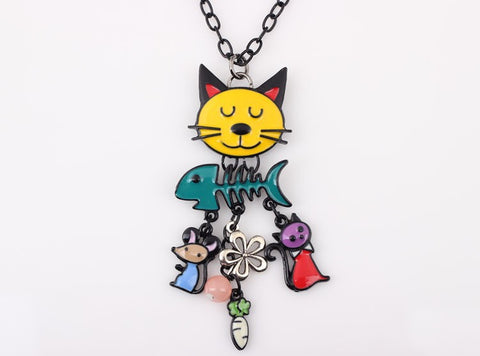 Colorful French Enamel Cat Necklace