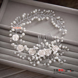 Premium Flower With Pearl Soft Headband Comb
