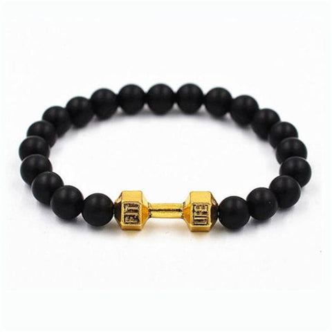 Black Matte Stone Beads Cross-fit Bracelet