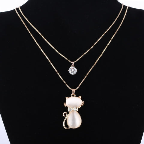 18K Gold Natural Stone Cat Necklace