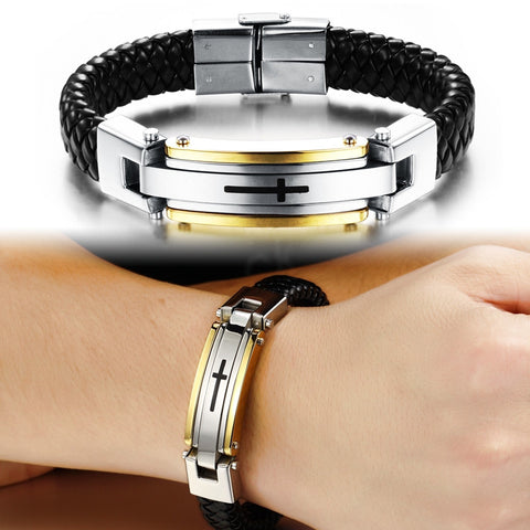 2017 Stainless Steel Cross Bracelet 68%OFF