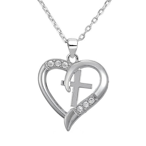 Crystal Cross Heart Necklace
