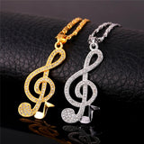 Luxury 18K Gold Music Note Pendant Necklace