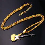 18K Real Gold Plated Rock Guitar Pendant Necklace