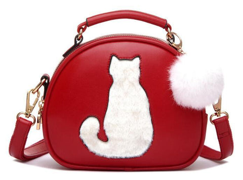 Cute Cat & Fur Ball Cross Body Handbag