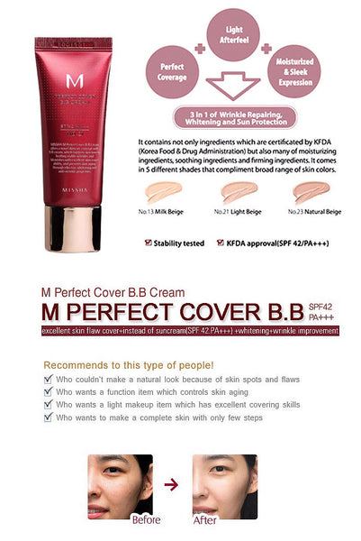 M Perfect Cover Blemish Balm BB Cream - 50ml - CORAL