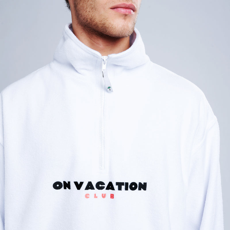 Bold Fleece Sweater - White