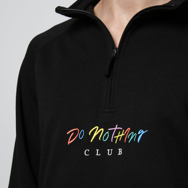 90s Do Nothing Club Quarter Zip Sweater Black