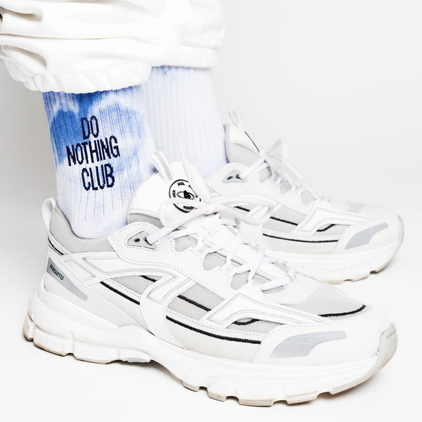 Do Nothing Club Tie Dye Tennis Socks - White/Blue