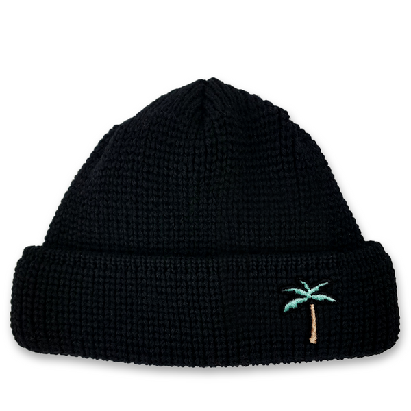 Short Wool Beanie Palm - Black