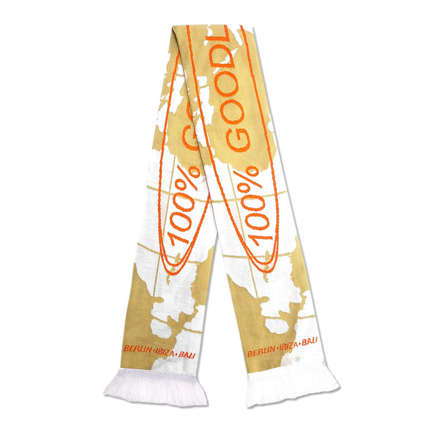 Goodlife Knit Scarf - White/Orange
