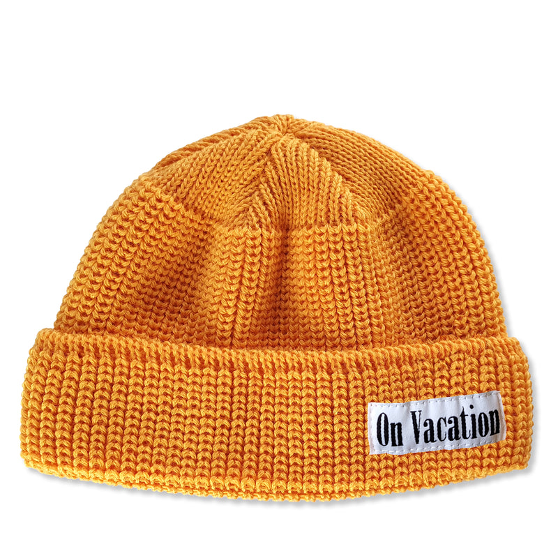 Short Wool Beanie On Vacation - Honey