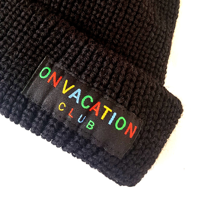Short Wool Beanie Colorful - Black