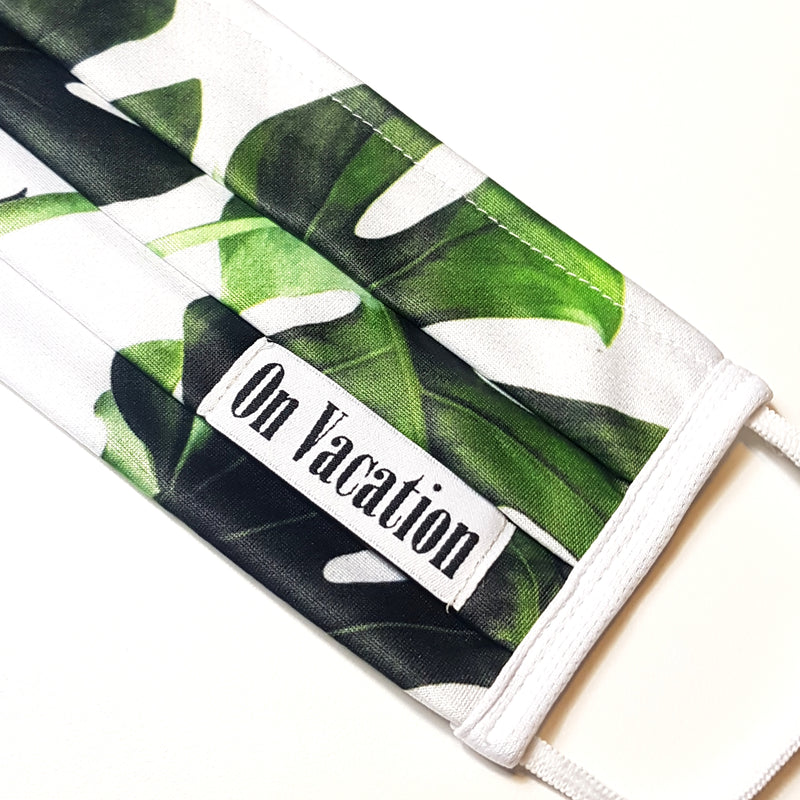 All Over Print Face Mask With Neckband - Monstera