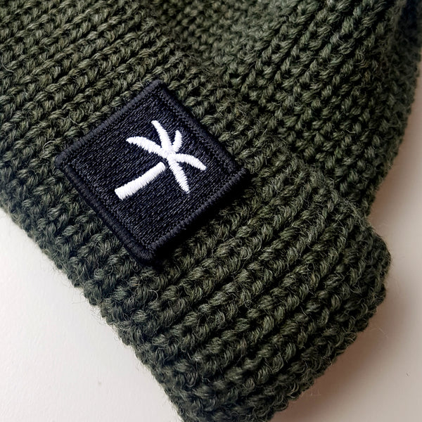 Short Wool Beanie Palms Patch - Dark-Green