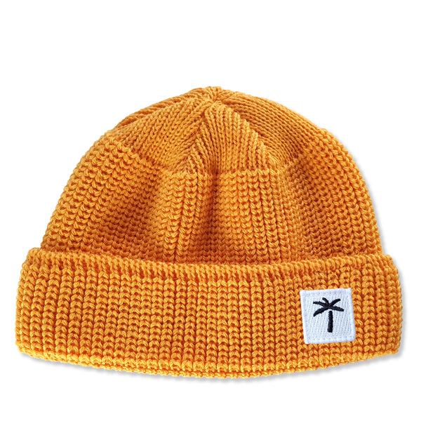 Short Wool Beanie Palms Patch - Honey