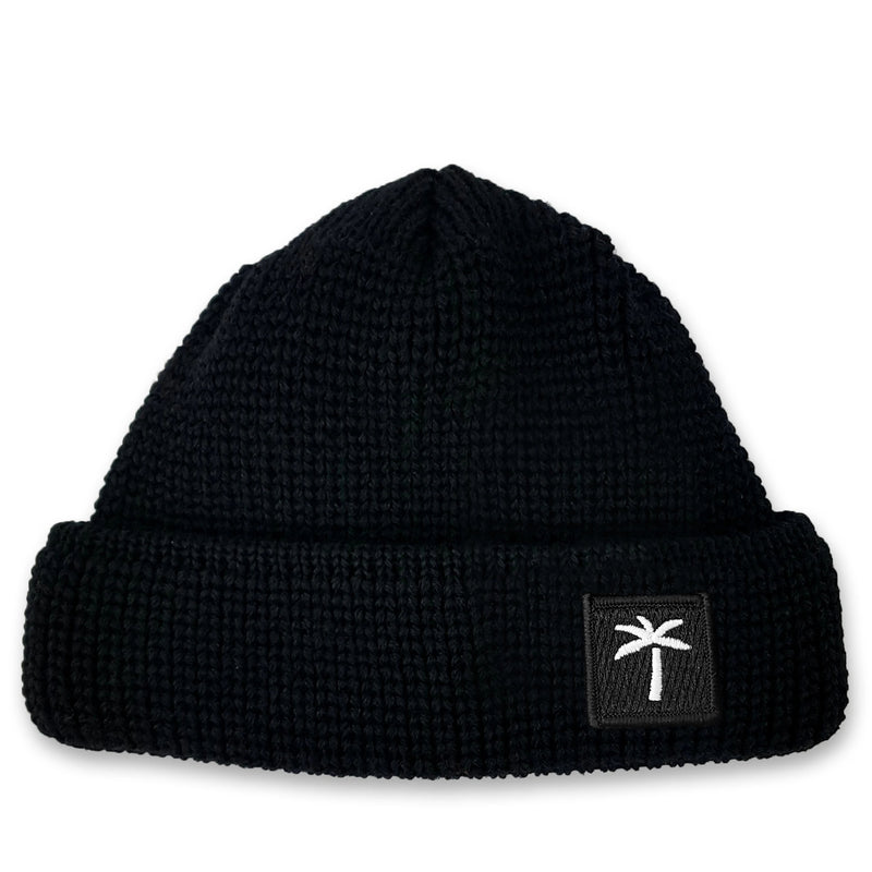 Short Wool Beanie Palms Patch - Black