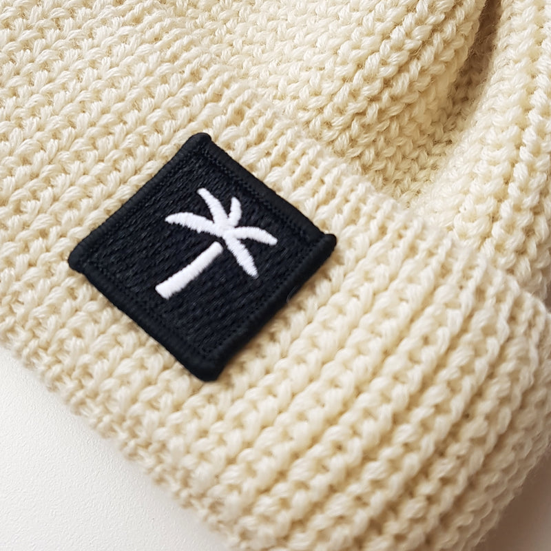 Short Wool Beanie Palms Patch - Offwhite