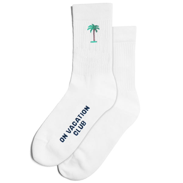 Palms Embroidery Tennis Socks - White