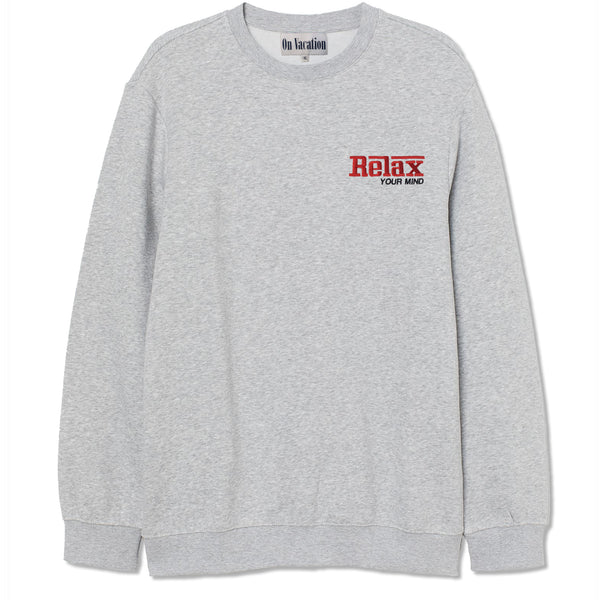 Relax Your Mind Embroidery Sweater - Grey