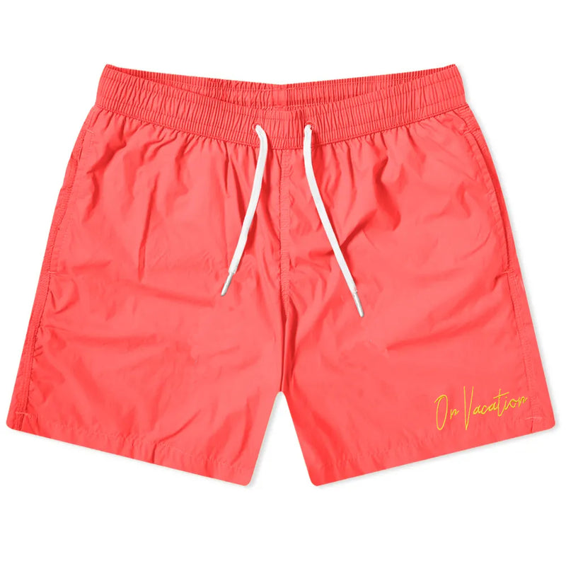 On Vacation Signature Swim Shorts - Coral